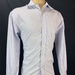 Nautica Long Sleeve Wrinkle Resistant Stripe Butto